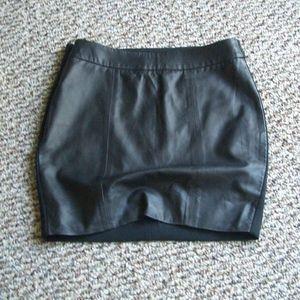 Tart leather panel front ponte knit mini skirt XS